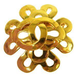 CHANEL 95P Vintage CC Logos Brooch Pin Gold Corsag